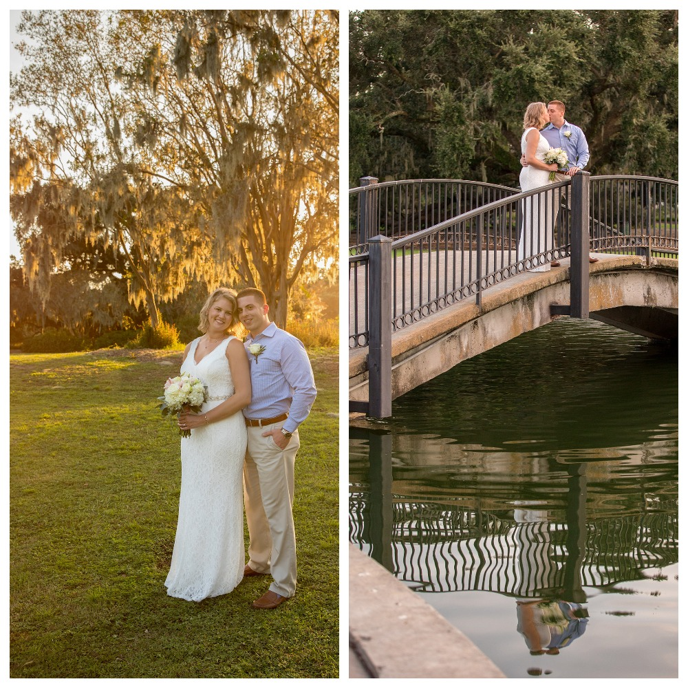 The couple is kissing on the bridge, the bride and the groom are standing at sunset