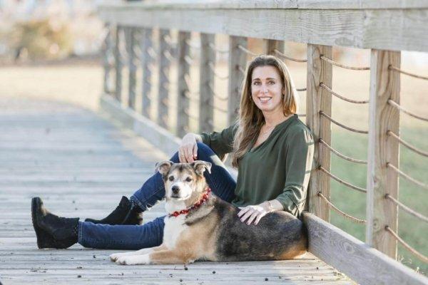 Charleston dog photo woman and her dog on the bridge