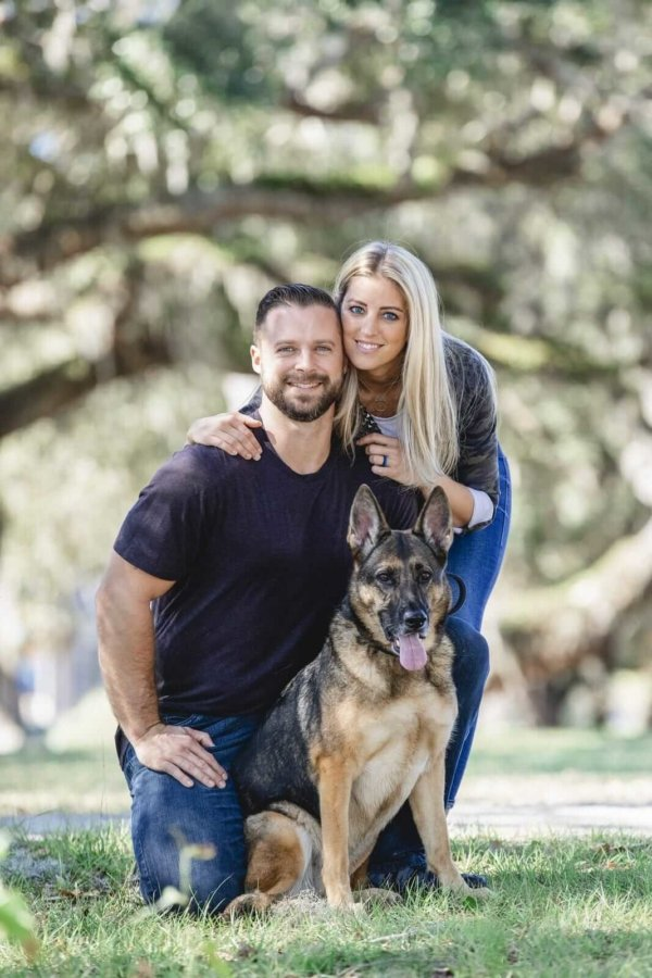Charleston dog photo couple and their dog during engagement session in the park