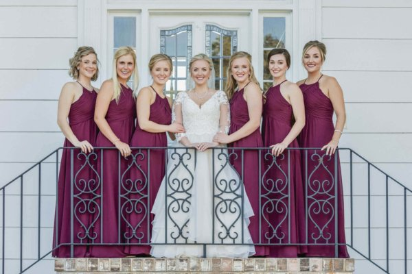 Charleston wedding photo bride is surrounded by her guests