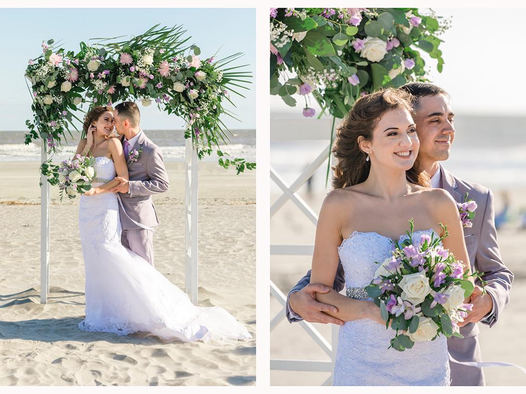 Beach elopement wedding at Tides Folly Beach SC // Jade & Chris